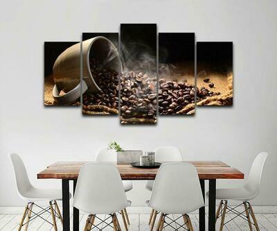 Coffee Beans - 5 Panel Canvas Print Wall Art Set