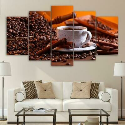 Coffee Beans And Coffee - 5 Panel Canvas Print Wall Art Set