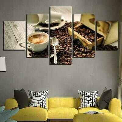 Coffee Cup Beans And Coffee Aroma - 5 Panel Canvas Print Wall Art Set