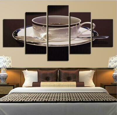 Coffee Cup Spoon Picture - 5 Panel Canvas Print Wall Art Set