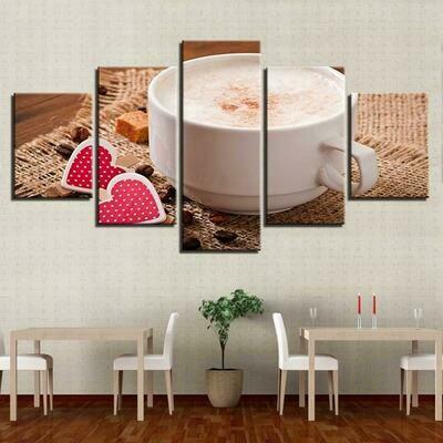 Coffee Drink - 5 Panel Canvas Print Wall Art Set