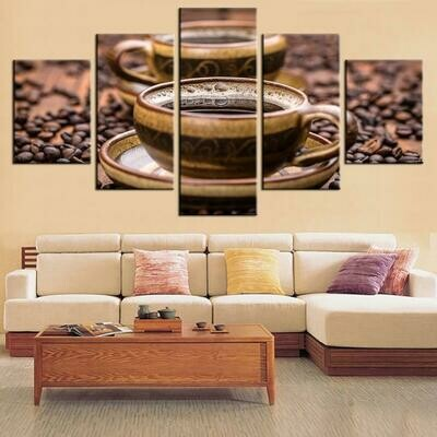 Coffee For Kitchen - 5 Panel Canvas Print Wall Art Set