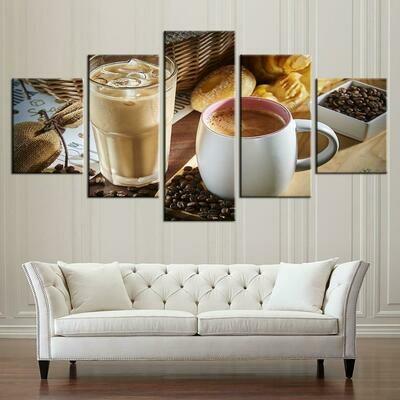 Coffee Iced Coffe Kitchen - 5 Panel Canvas Print Wall Art Set