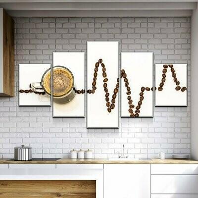 Coffee Life - 5 Panel Canvas Print Wall Art Set