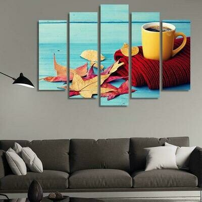 Coffee On Red Scarf - 5 Panel Canvas Print Wall Art Set