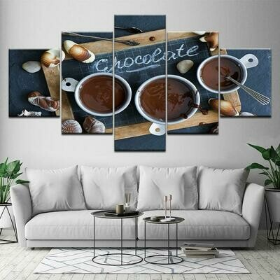 Cup of coffe Picture - 5 Panel Canvas Print Wall Art Set