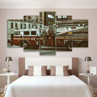 Fire Truck City Guardian- 5 Panel Canvas Print Wall Art Set
