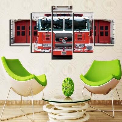 Fire Truck Fighter- 5 Panel Canvas Print Wall Art Set