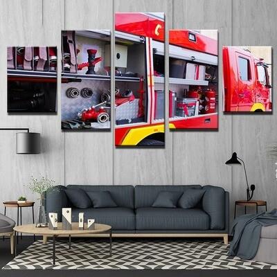 Fire Truck Fire Fighting- 5 Panel Canvas Print Wall Art Set