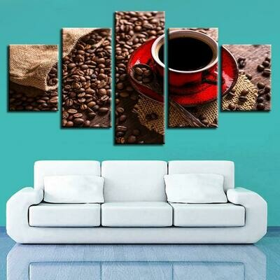 Coffee Bean And Coffe - 5 Panel Canvas Print Wall Art Set