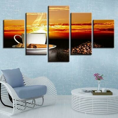 Coffee Beans And Glass Cup Sunset - 5 Panel Canvas Print Wall Art Set