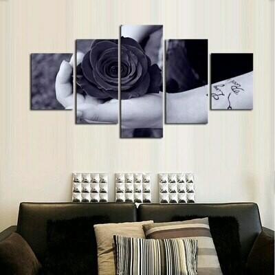 Holding A Rose - 5 Panel Canvas Print Wall Art Set