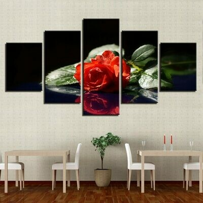 Lonely Red Rose - 5 Panel Canvas Print Wall Art Set