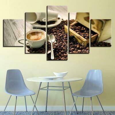 Coffee Cafe Restaurant Coffee Shop - 5 Panel Canvas Print Wall Art Set