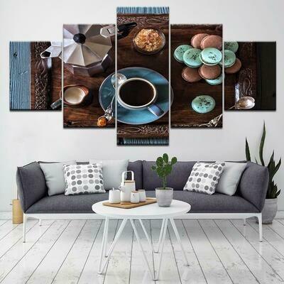 Coffee Cup - 5 Panel Canvas Print Wall Art Set