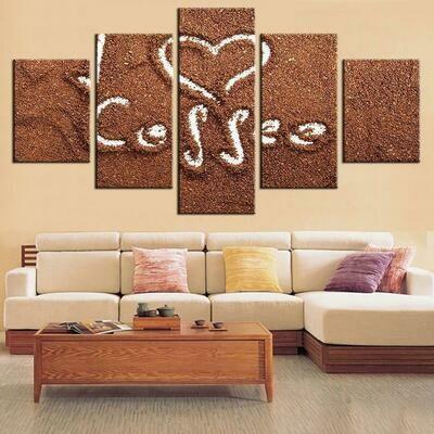 Coffee Draw Love - 5 Panel Canvas Print Wall Art Set