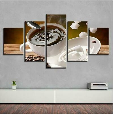 Coffee Drinks - 5 Panel Canvas Print Wall Art Set