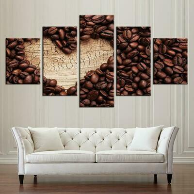Coffee Heart Of Wood Kitchen - 5 Panel Canvas Print Wall Art Set