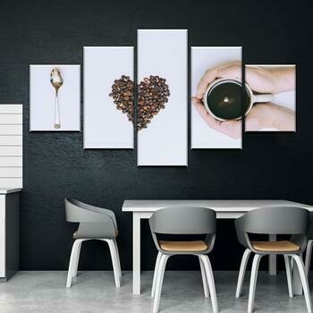Coffee Love Kitchen And Dining Room - 5 Panel Canvas Print Wall Art Set