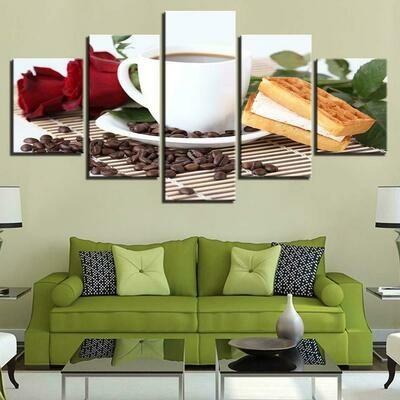 Coffee Rose Waffles - 5 Panel Canvas Print Wall Art Set