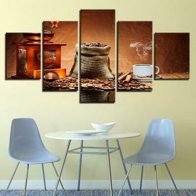 Coffee Shop Cafe Restaurant - 5 Panel Canvas Print Wall Art Set