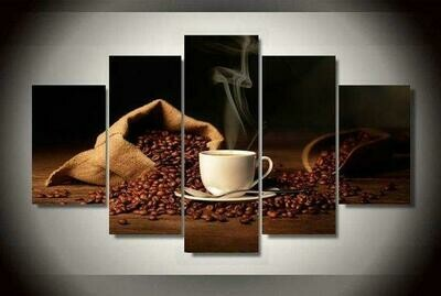 Coffee With Beans - 5 Panel Canvas Print Wall Art Set
