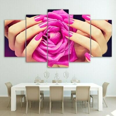 Pink Nail And Rose - 5 Panel Canvas Print Wall Art Set
