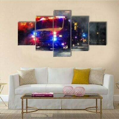 Emergency Firefighter Rescue Truck- 5 Panel Canvas Print Wall Art Set