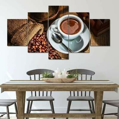 Dark Coffee - 5 Panel Canvas Print Wall Art Set
