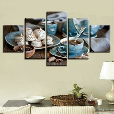 Coffee And Spices Food - 5 Panel Canvas Print Wall Art Set