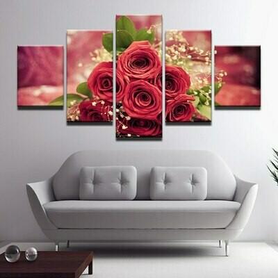 Hd Red Rose - 5 Panel Canvas Print Wall Art Set