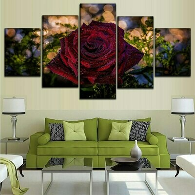 High Quality Red Rose - 5 Panel Canvas Print Wall Art Set