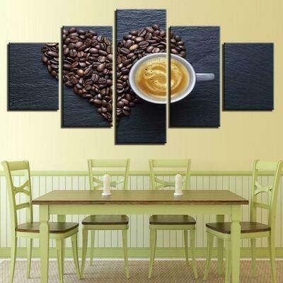 Coffee Beans Heart - 5 Panel Canvas Print Wall Art Set