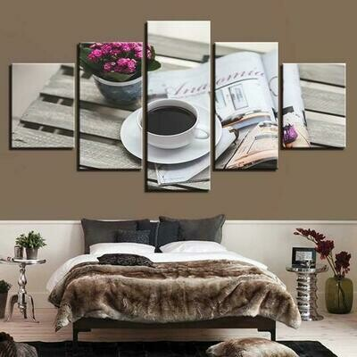 Coffee Cafe - 5 Panel Canvas Print Wall Art Set