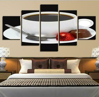 Coffee Cup Spoon - 5 Panel Canvas Print Wall Art Set