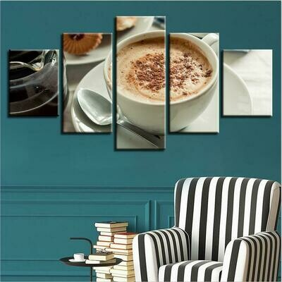Coffee Drinks Picture - 5 Panel Canvas Print Wall Art Set