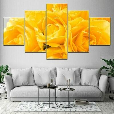 Modular Yellow Roses - 5 Panel Canvas Print Wall Art Set