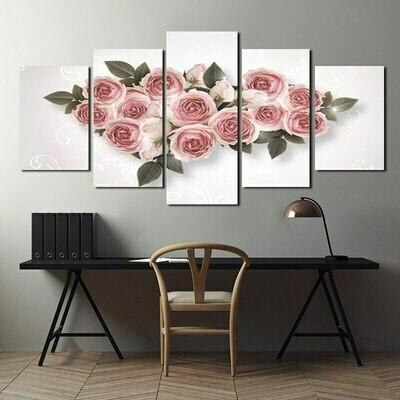 Nordic Pink Rose - 5 Panel Canvas Print Wall Art Set
