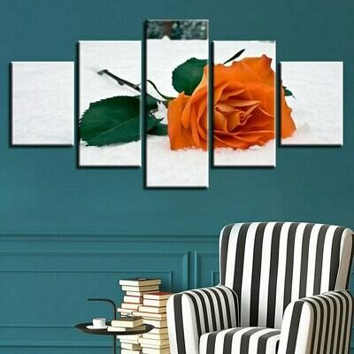 Orange Rose - 5 Panel Canvas Print Wall Art Set