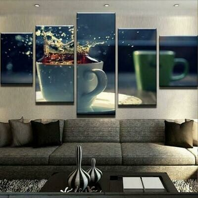 Coffee Splash - 5 Panel Canvas Print Wall Art Set
