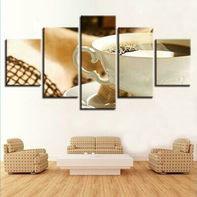 Coffee Still Life - 5 Panel Canvas Print Wall Art Set
