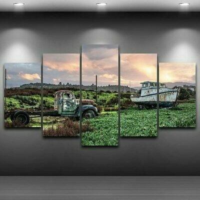 Antique Farm Truck - 5 Panel Canvas Print Wall Art Set
