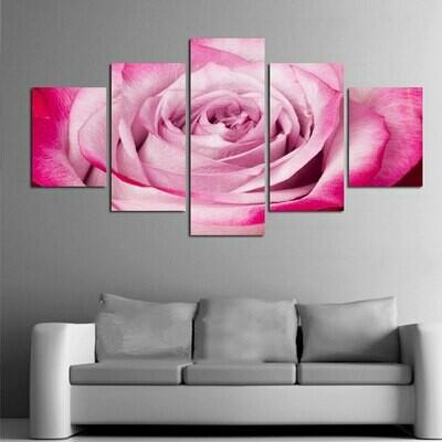 Pink Rose - 5 Panel Canvas Print Wall Art Set