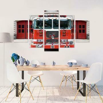Firetruck Engine- 5 Panel Canvas Print Wall Art Set