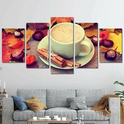 Fall Cappuccino - 5 Panel Canvas Print Wall Art Set