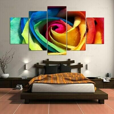 Modern Colorful Rose - 5 Panel Canvas Print Wall Art Set