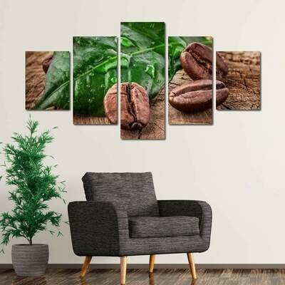 Coffee From Costa Rica - 5 Panel Canvas Print Wall Art Set