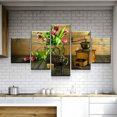 Coffee Grind - 5 Panel Canvas Print Wall Art Set
