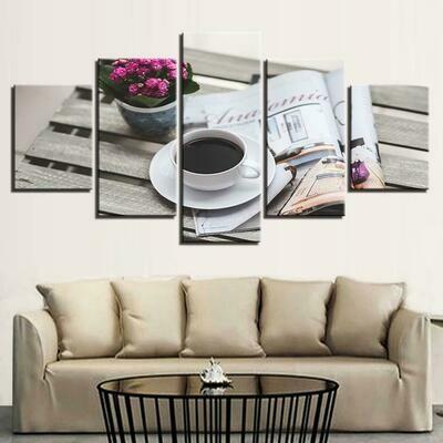 Coffee Image - 5 Panel Canvas Print Wall Art Set
