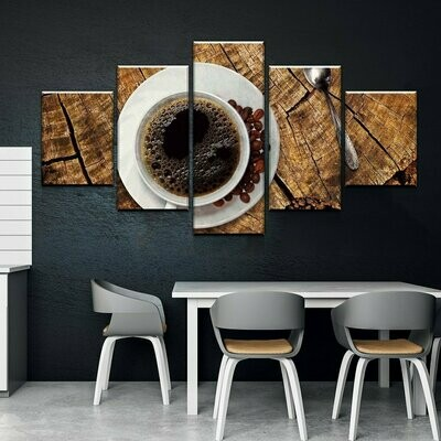 Coffee On Wood - 5 Panel Canvas Print Wall Art Set